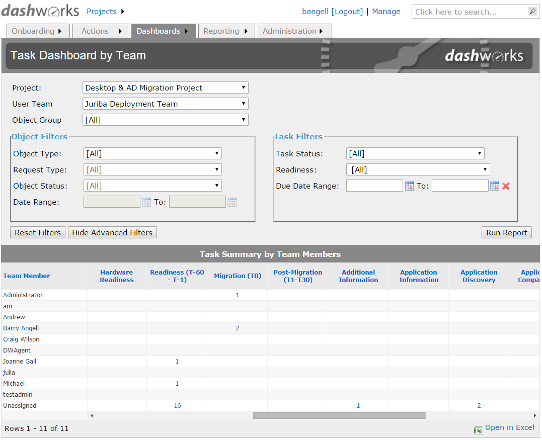 Dashworks Project System: Task Dashboard By Team