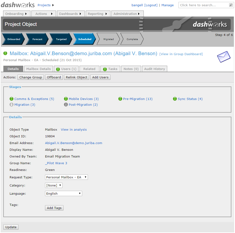 Dashworks Project System Email: Specific Mailbox Readiness