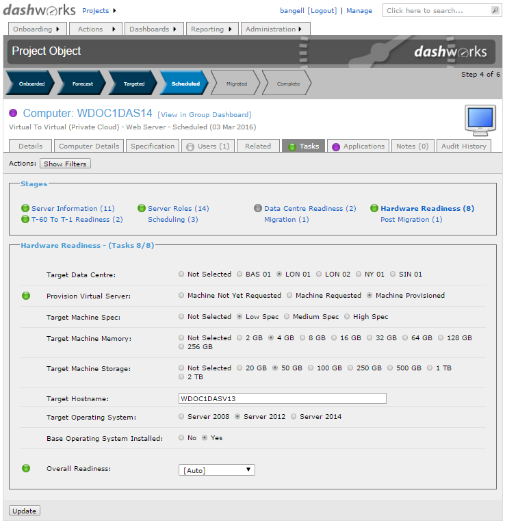 Dashworks Project System for Service Migration: Server Readiness Task Page