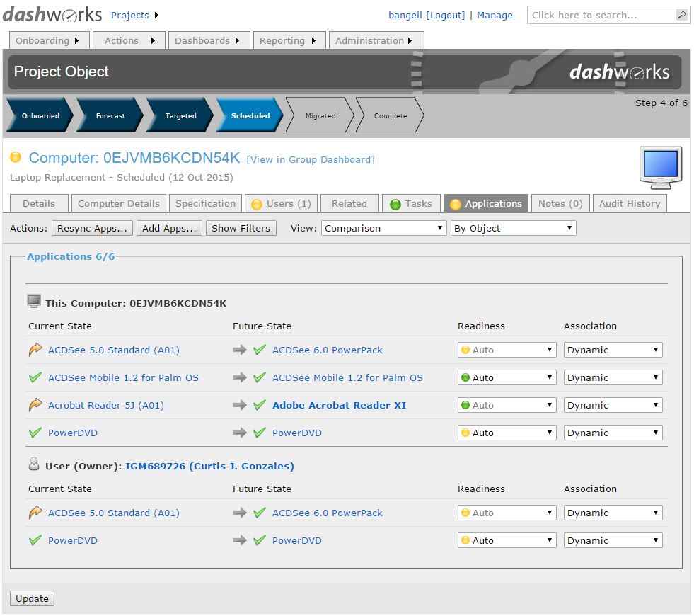 Dashworks Project System for Computers and Users: Computer Application Task Tracking Page